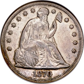 1870 Seated Liberty Dollar Obverse