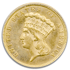 $3 Gold Certified MS64 coin