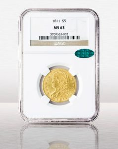 1811 $5 Capped Bust Small NGC MS63 CAC