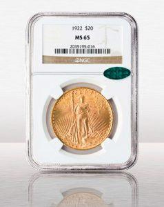 1922 $20 Saint Gaudens NGC MS65 CAC
