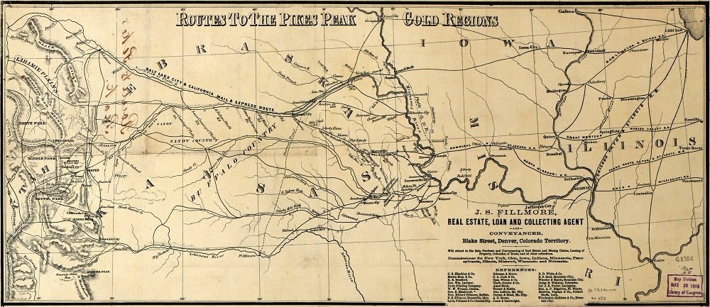 Routes to the Pikes Peak Gold Regions, circa late 1850s