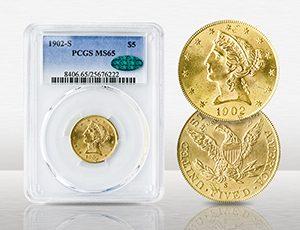 1902-S $5 Liberty PCGS MS65 CAC - $3,305