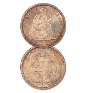 1873-CC Dime, No Arrows