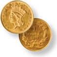 Indian Gold Dollar Type III Gold Coin