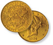 "Liberty Double Eagle Type III ""Twenty Dollars"" Gold Coins"