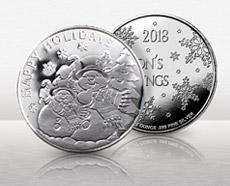 1 oz Silver Christmas Round Snowman Coin