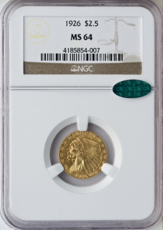 $2 1/2 Indian Certified MS64 CAC