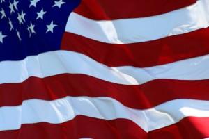 American Flag waving in breeze