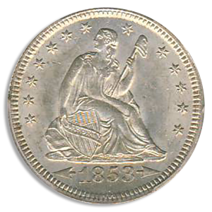 1853 Seated Libery Quarter with Arrows and Rays