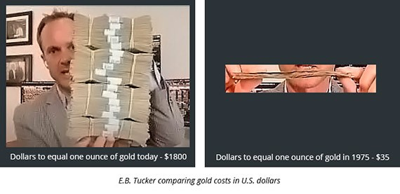 EB Tucker with stacks of dollars
