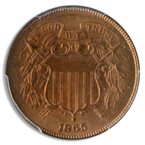 Obverse of 1865 2-cent coin