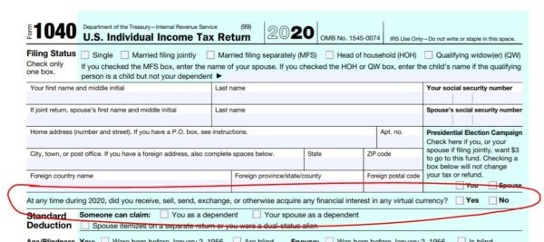 Page 1 of IRS tax form indicating question about Bitcoin purchases