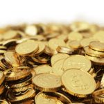 Pile of gold Bitcoin with white background