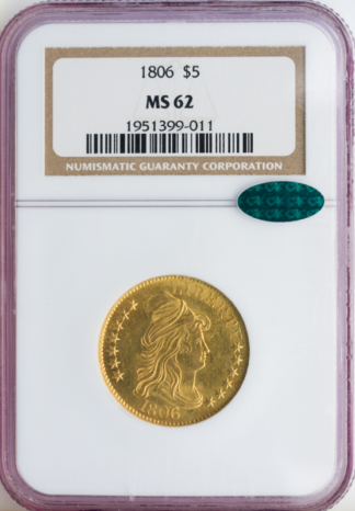 1806 $5 Draped Bust NGC MS62 CAC