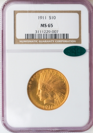1911 $10 Indian NGC MS65 CAC
