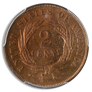 1865 2 Cent PCGS MS65 RD CAC