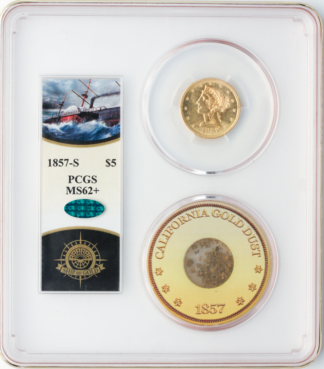 1857-S $5 Liberty SSCA Pinch Of Dust PCGS MS62 CAC +