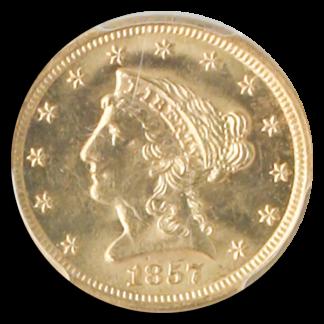 1857-S $2 1/2 Liberty SSCA POD PCGS MS63 CAC