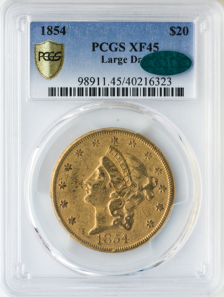 1854 $20 Liberty Large Date PCGS XF45 CAC