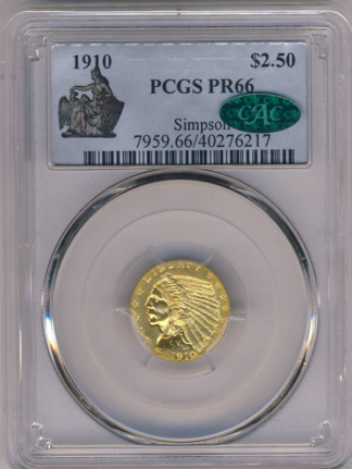 1910 $2 1/2 Indian Simpson Collection PCGS PR66 CAC