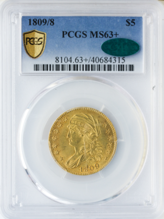 1809/8 $5 Capped Bust PCGS MS63 CAC +