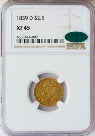 1839-D $2 1/2 Classic NGC XF45 CAC