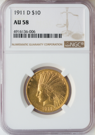 1911-D $10 Indian NGC AU58