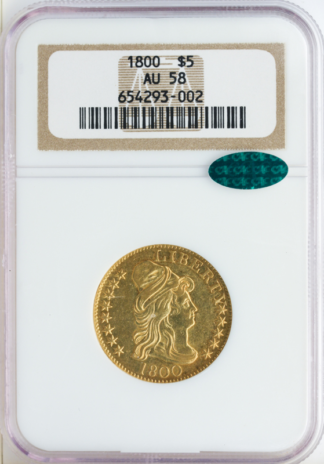 1800 $5 Draped Bust Gold Coin NGC About Uncirculated 58(AU58) CAC
