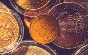 American One Cent Coin. Collectible Coins Closeup Photo.