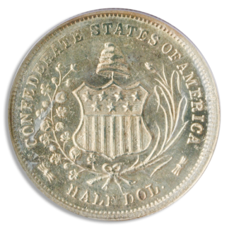 1861 Half Dollar CSA Restrike Silver Coin PCGS Mint State 64(MS64) CAC