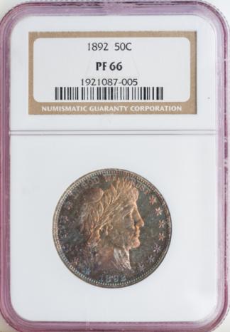 1892 Barber Half Dollar NGC PR66