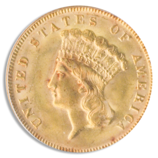 1878 $3 Indian Princess Gold Coin PCGS Mint State 64(64) CAC