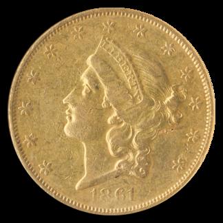 1861-O $20 Liberty NGC AU53