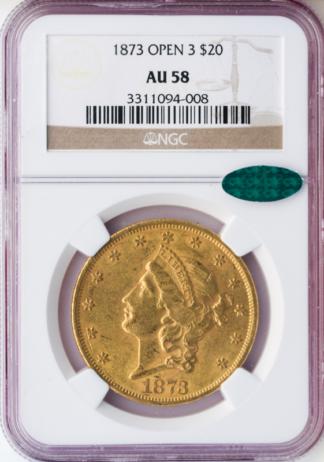 1873 $20 Liberty Open 3 NGC AU58 CAC
