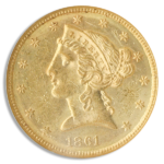 1861 $5 Liberty NGC MS60