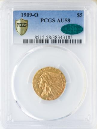1909-O $5 Indian PCGS AU58 CAC