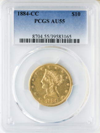 1884-CC $10 Liberty PCGS AU55