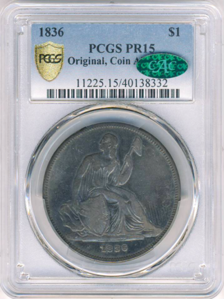 1836 Gobrecht $1 Coin Alignment PCGS PR15 CAC