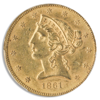 1861 $5 Liberty PCGS MS62 CAC