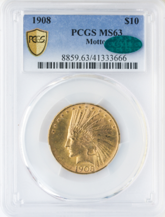 1908 $10 Indian With Motto PCGS MS63 CAC