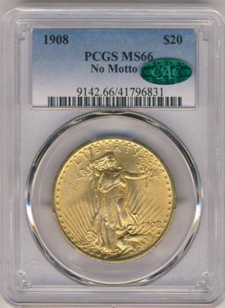 1908 $20 Saint Gaudens No Motto PCGS Mint State 66(MS66) CAC