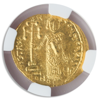 Byzantine Empire Justinian II AV Solidus Christ NGC MS Str:3 Srf:5 4.5g 'Die Shaft'