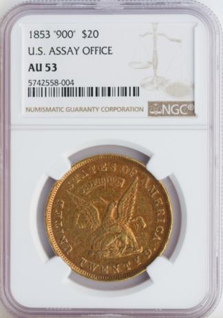 1853 $20 Assay CaliforniaTerritorial .900 NGC AU53