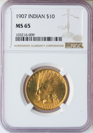 1907 No Motto $10 Indian NGC MS65