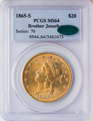 1865-S $20 Liberty Brother Jonathan PCGS MS64 CAC
