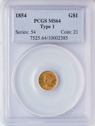 1854 Ty 1 Gold $1 PCGS MS64