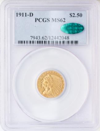 1911-D $2 1/2 PCGS MS62 CAC