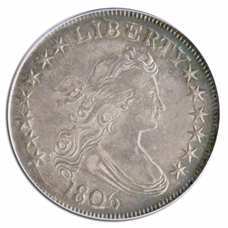 1806 Draped Bust Half Pointed 6 PCGS AU50 CAC