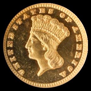 1885 $1 Gold Obverse