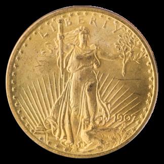 1907 No Motto $20 Saint Gaudens PCGS MS64